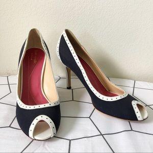 Kate Spade Navy Blue and White Peep Toe Heels